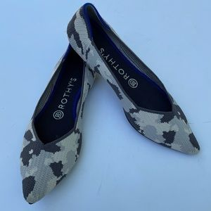 Rothy's Pointed Toe Ash Grey Camo Ballet Flats